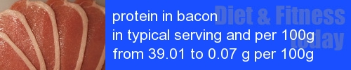 protein in bacon information and values per serving and 100g