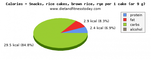 fat, calories and nutritional content in rice cakes