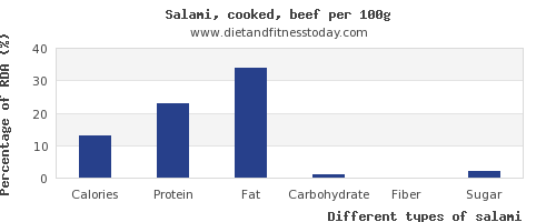 nutritional value and nutrition facts in salami per 100g