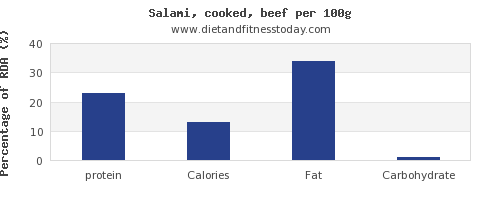 protein and nutrition facts in salami per 100g