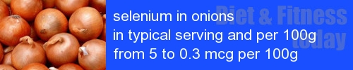 selenium in onions information and values per serving and 100g