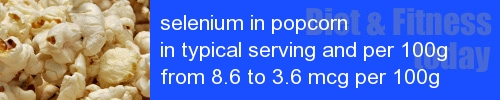selenium in popcorn information and values per serving and 100g