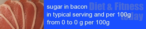 sugar in bacon information and values per serving and 100g