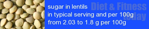 sugar in lentils information and values per serving and 100g