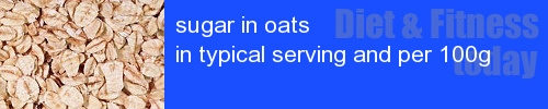 sugar in oats information and values per serving and 100g