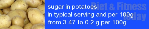 sugar in potatoes information and values per serving and 100g