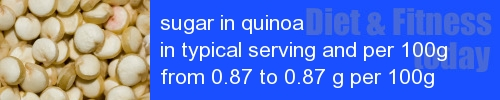 sugar in quinoa information and values per serving and 100g