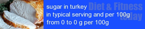 sugar in turkey information and values per serving and 100g