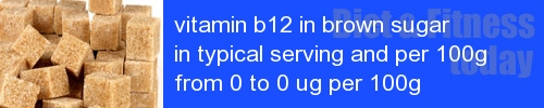 vitamin b12 in brown sugar information and values per serving and 100g
