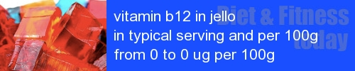 vitamin b12 in jello information and values per serving and 100g