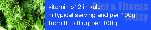 vitamin b12 in kale information and values per serving and 100g