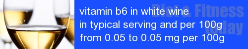 vitamin b6 in white wine information and values per serving and 100g