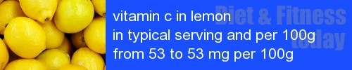 vitamin c in lemon information and values per serving and 100g