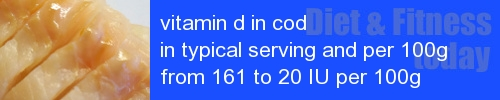 vitamin d in cod information and values per serving and 100g