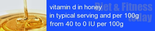 vitamin d in honey information and values per serving and 100g