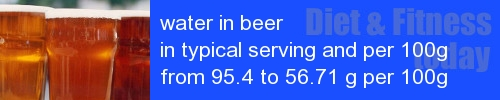 water in beer information and values per serving and 100g