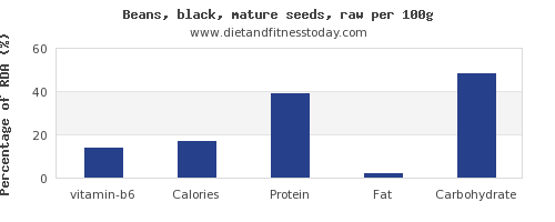 vitamin b6 and nutrition facts in black beans per 100g