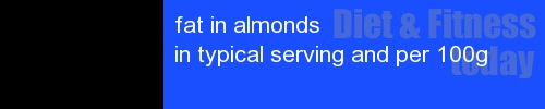 fat in almonds information and values per serving and 100g