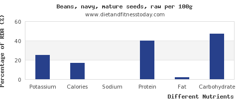 chart to show highest potassium in navy beans per 100g