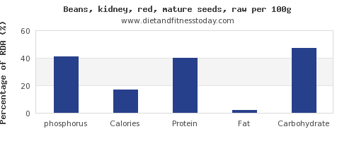 phosphorus and nutrition facts in kidney beans per 100g