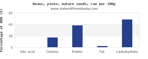 folic acid and nutrition facts in pinto beans per 100g