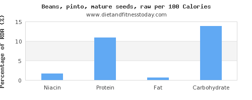 niacin and nutrition facts in pinto beans per 100 calories