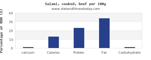 calcium and nutrition facts in salami per 100g