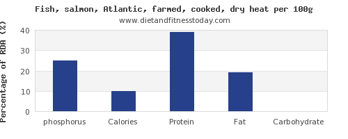 phosphorus and nutrition facts in salmon per 100g